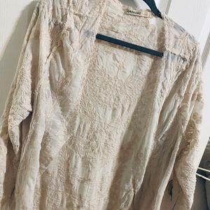 Elegant crochet lace kimono one size beige natural